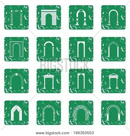 Arch set in grunge style green isolated vector illustration