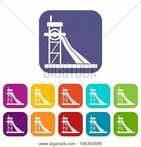 Equipment for washing rocks icons set vector illustration in flat style in colors red, blue, green, and other
