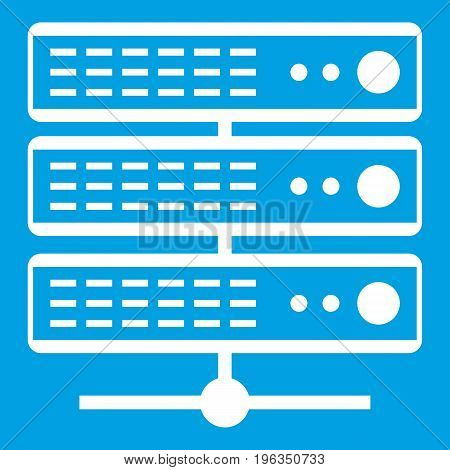 Servers icon white isolated on blue background vector illustration