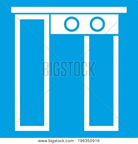 Security gate at entrance of airport icon white isolated on blue background vector illustration
