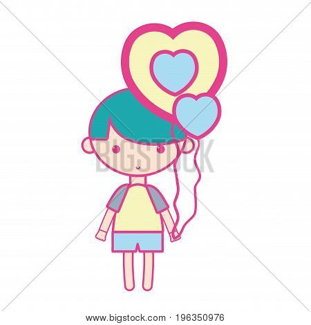 cute boy with heart balloons and hairstyle design vector illustration
