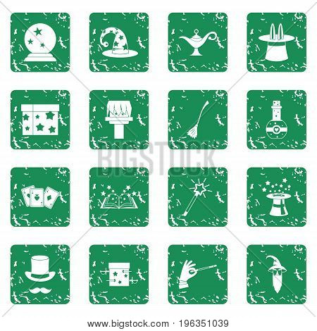 Magic icons set in grunge style green isolated vector illustration