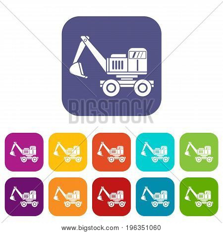 Excavator icons set vector illustration in flat style in colors red, blue, green, and other