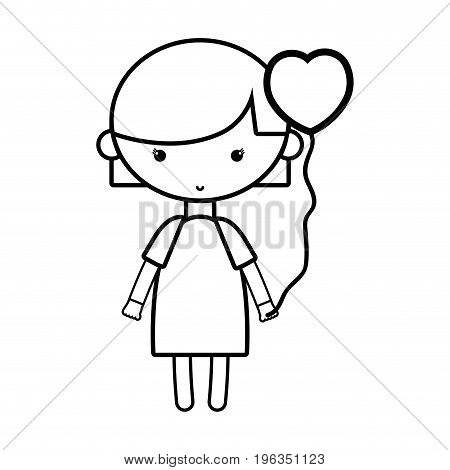 line beauty girl with heart balloons and hairstyle design vector illustration