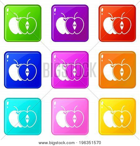 The whole apple and half icons of 9 color set isolated vector illustration