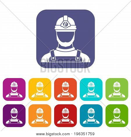 Male miner icons set vector illustration in flat style in colors red, blue, green, and other