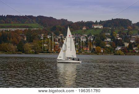 Lucerne Switzerland - October 24 2016 : The famous sailing at Lake Lucerne Switzerland