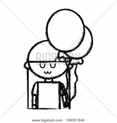 line beauty girl with balloons and hairstyle design vector illustration
