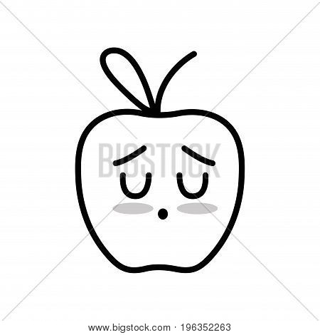 line kawaii cute tender apple fruit vector illustration