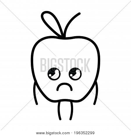 line kawaii cute sad apple fruit vector illustration