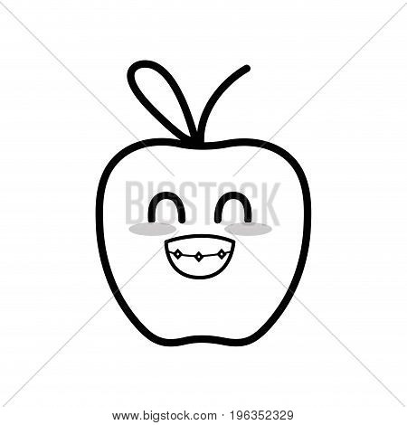 line kawaii cute funny apple fruit vector illustration
