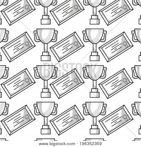 cup prize symbol and diploma graduation background vector illustration