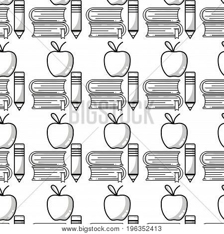 school books and pencil with apple fruit background vector illustratioon