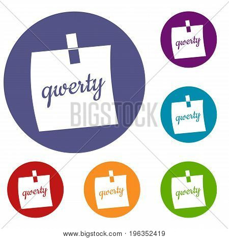 Paper sheet with text qwerty icons set in flat circle red, blue and green color for web