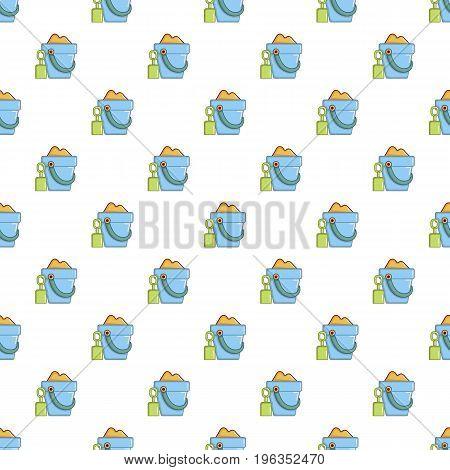 Bucket and shovel for children sandbox pattern seamless repeat in cartoon style vector illustration