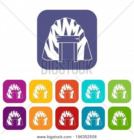Mine in mountain icons set vector illustration in flat style in colors red, blue, green, and other