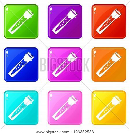 Clipper icons of 9 color set isolated vector illustration