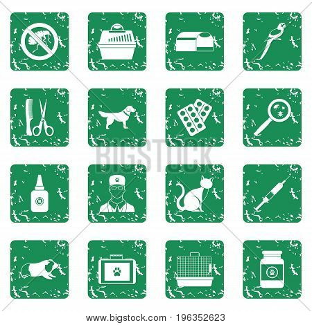 Veterinary icons set in grunge style green isolated vector illustration