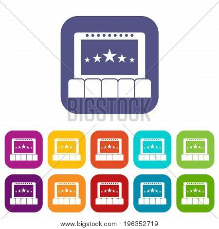 Cinema icons set vector illustration in flat style in colors red, blue, green, and other