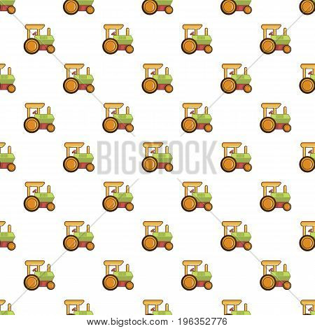 Colorful tractor toy pattern seamless repeat in cartoon style vector illustration