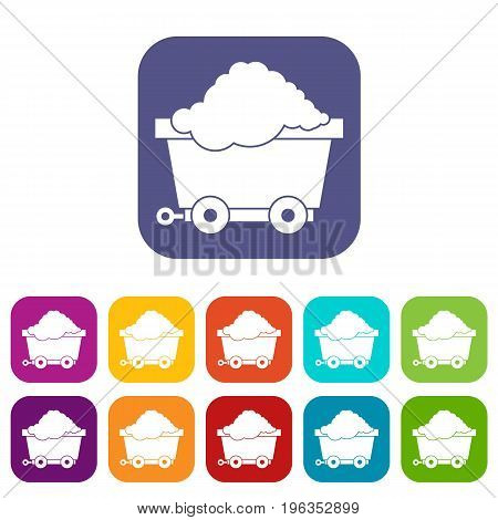 Cart on wheels with coal icons set vector illustration in flat style in colors red, blue, green, and other