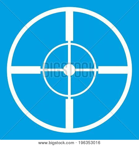 Aim icon white isolated on blue background vector illustration