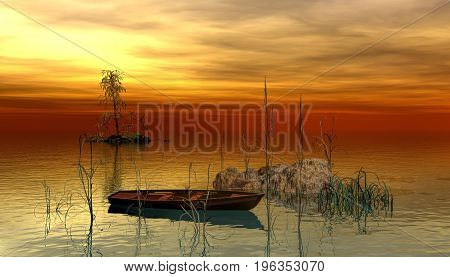 boat on a lake during a golden sunset.3d rendering