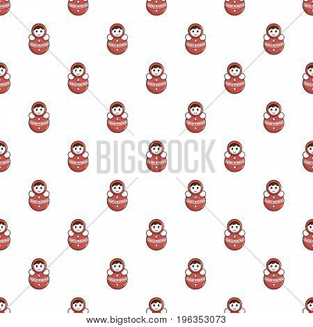 Red tumbler doll pattern seamless repeat in cartoon style vector illustration