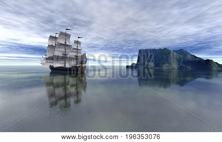 Pirate Ship In blue sky and beautiful calm sea. 3D rendering