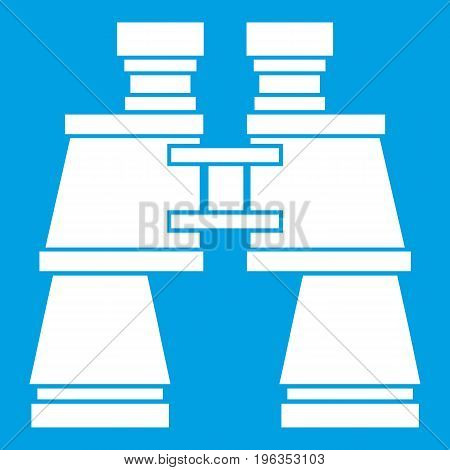 Binoculars icon white isolated on blue background vector illustration