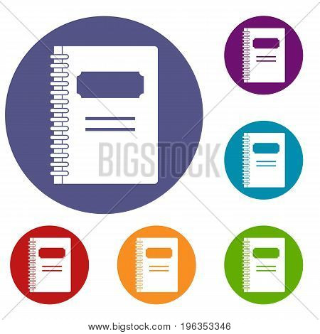 Closed spiral notebook icons set in flat circle red, blue and green color for web