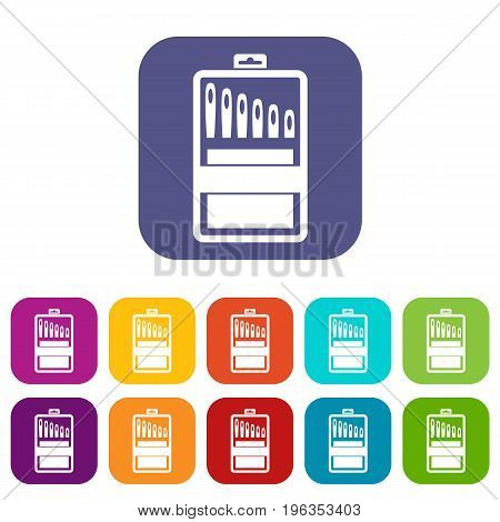 Set of needles icons set vector illustration in flat style in colors red, blue, green, and other