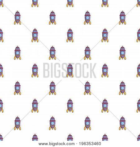 Purple toy rocket pattern seamless repeat in cartoon style vector illustration