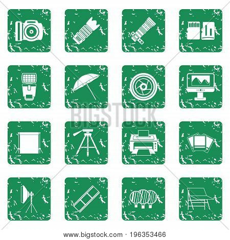 Photo studio icons set in grunge style green isolated vector illustration