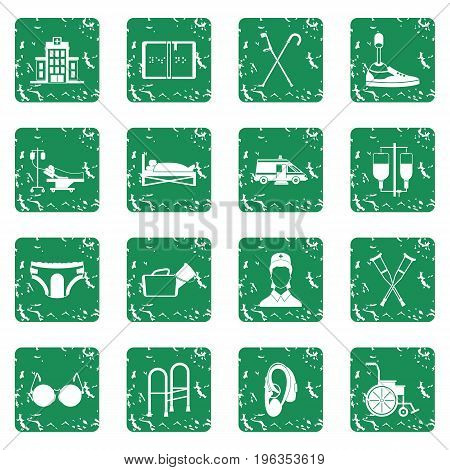 Disabled people care set in grunge style green isolated vector illustration