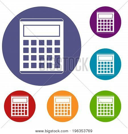 Office, school electronic calculator icons set in flat circle red, blue and green color for web