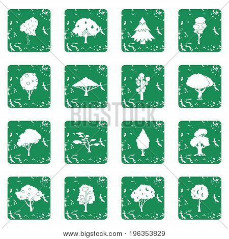 Trees icons set in grunge style green isolated vector illustration