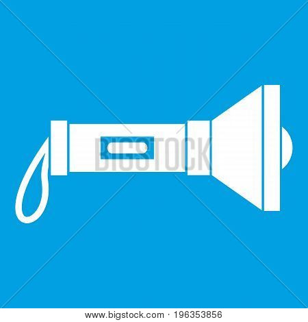 Lantern icon white isolated on blue background vector illustration