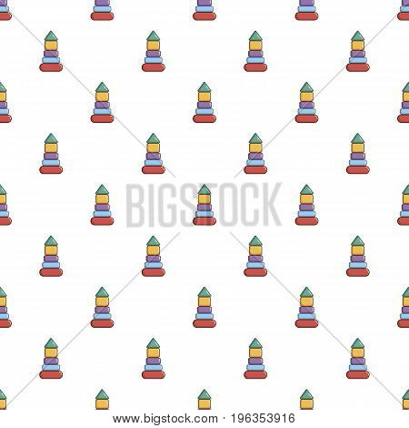 Colorful pyramid toy pattern seamless repeat in cartoon style vector illustration