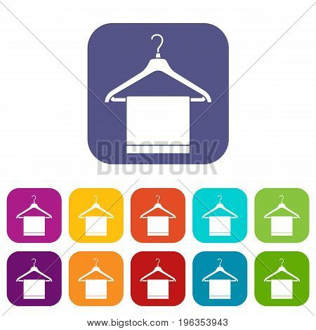 Hanger with cloth icons set vector illustration in flat style in colors red, blue, green, and other