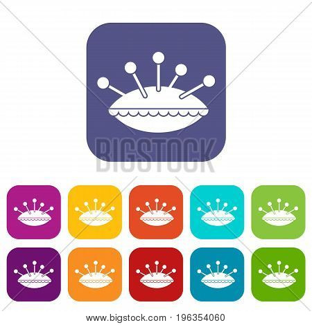 Pillow with needles icons set vector illustration in flat style in colors red, blue, green, and other
