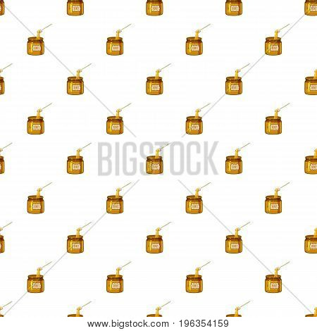 Jar of honey with spoon pattern seamless repeat in cartoon style vector illustration