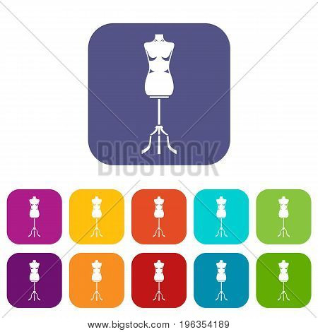 Sewing mannequin icons set vector illustration in flat style in colors red, blue, green, and other