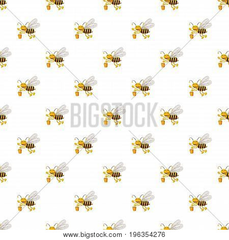 Bee with bucket of honey pattern seamless repeat in cartoon style vector illustration