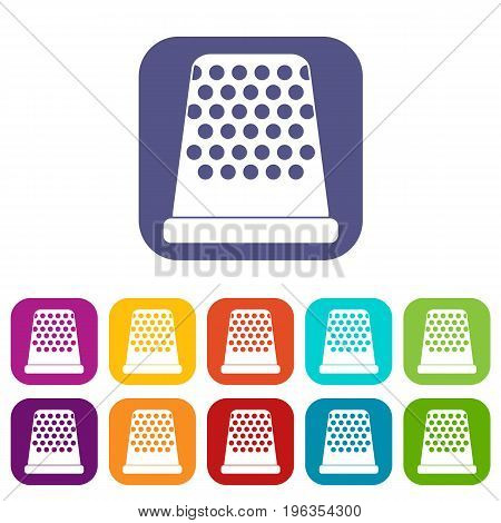 Thimble icons set vector illustration in flat style in colors red, blue, green, and other