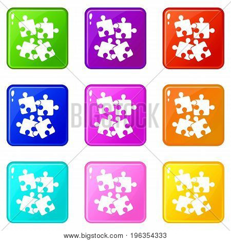 Jigsaw puzzles icons of 9 color set isolated vector illustration