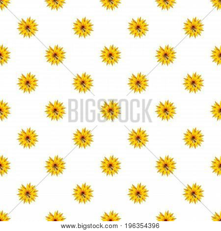 Bee on flower pattern seamless repeat in cartoon style vector illustration