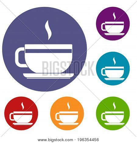 Tea cup and saucer icons set in flat circle red, blue and green color for web