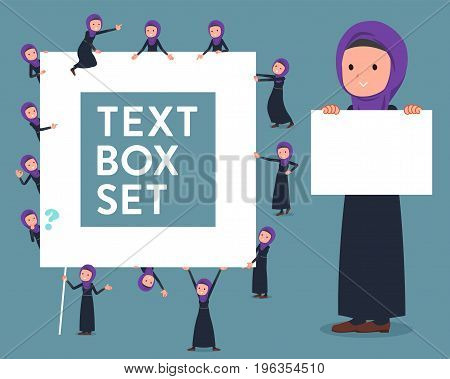 Set of various poses of flat type Arab woman_text box