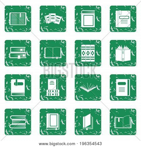 Books icons set in grunge style green isolated vector illustration
